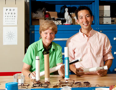 Jamie Hendry and Charles Kim display the development of our technology